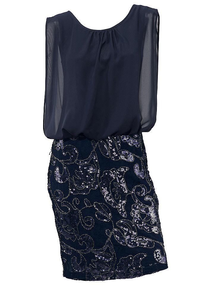Ashley Brooke jurk met pailletten blauw