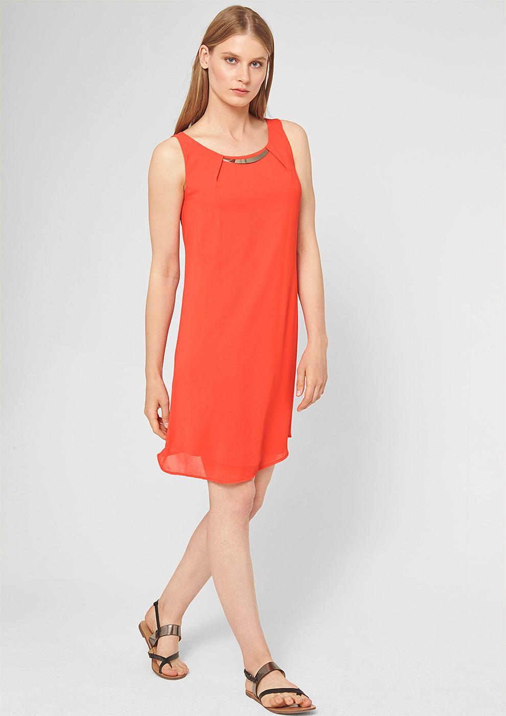 s.Oliver Premium Versierde chiffon jurk rood