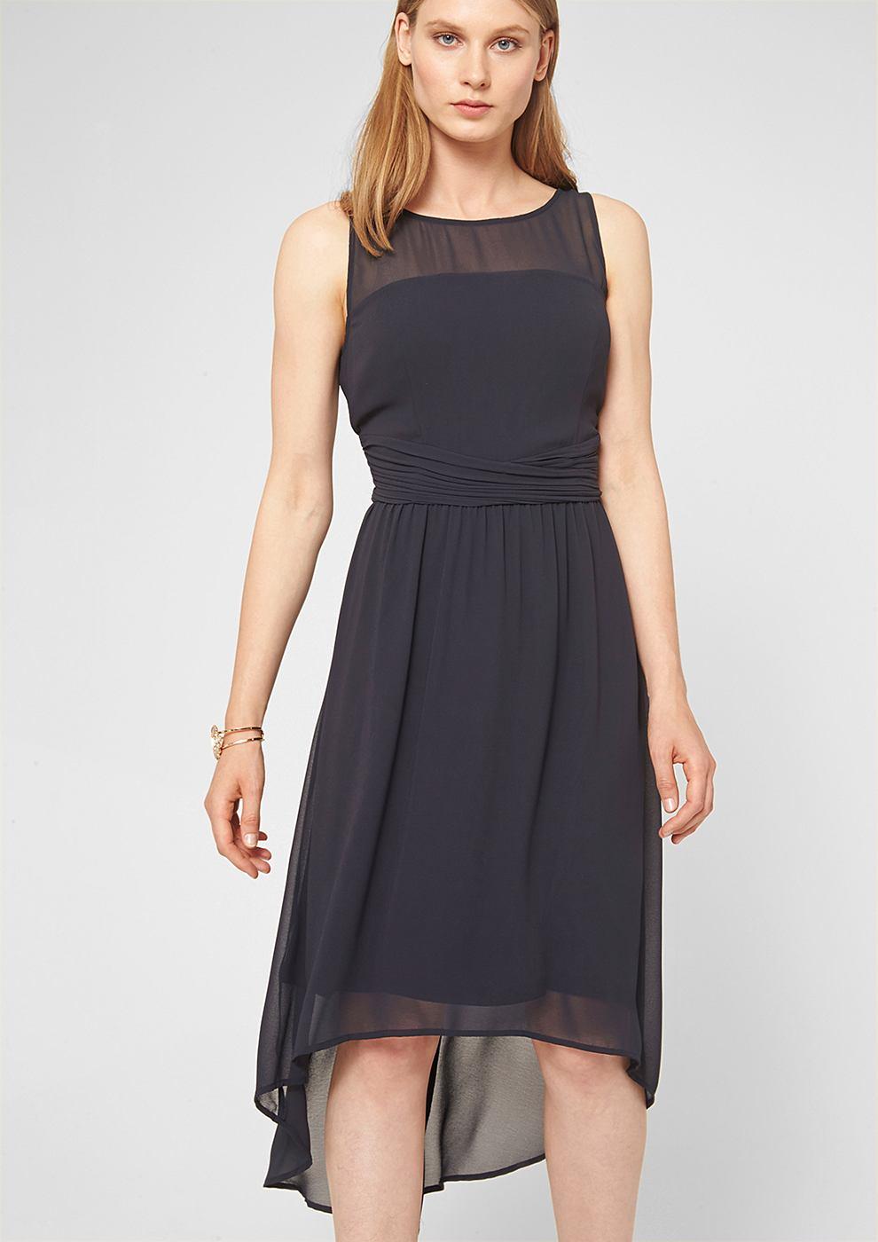 s.Oliver Premium chiffon jurk met een korter voorpand blauw