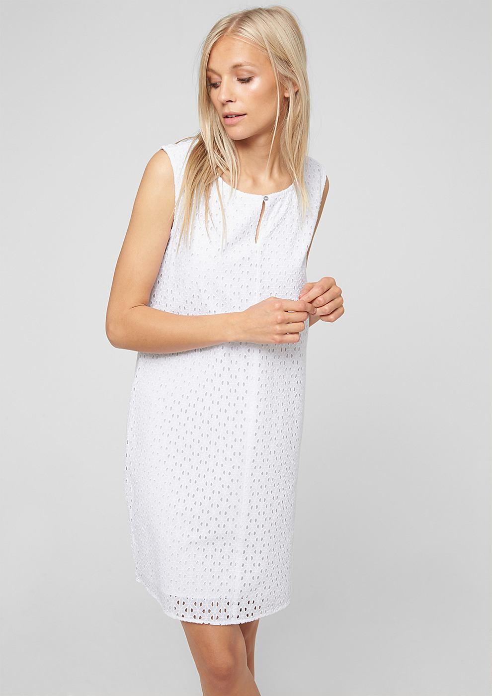 s.Oliver Korte jurk met een opengewerkt motief wit