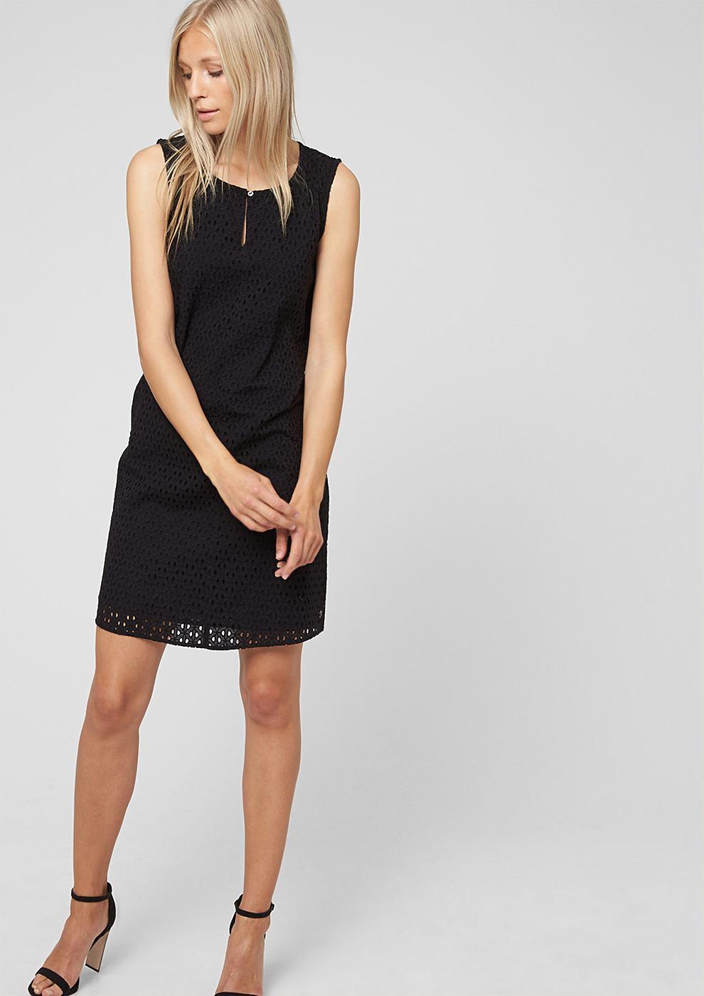 s.Oliver Korte jurk met een opengewerkt motief zwart