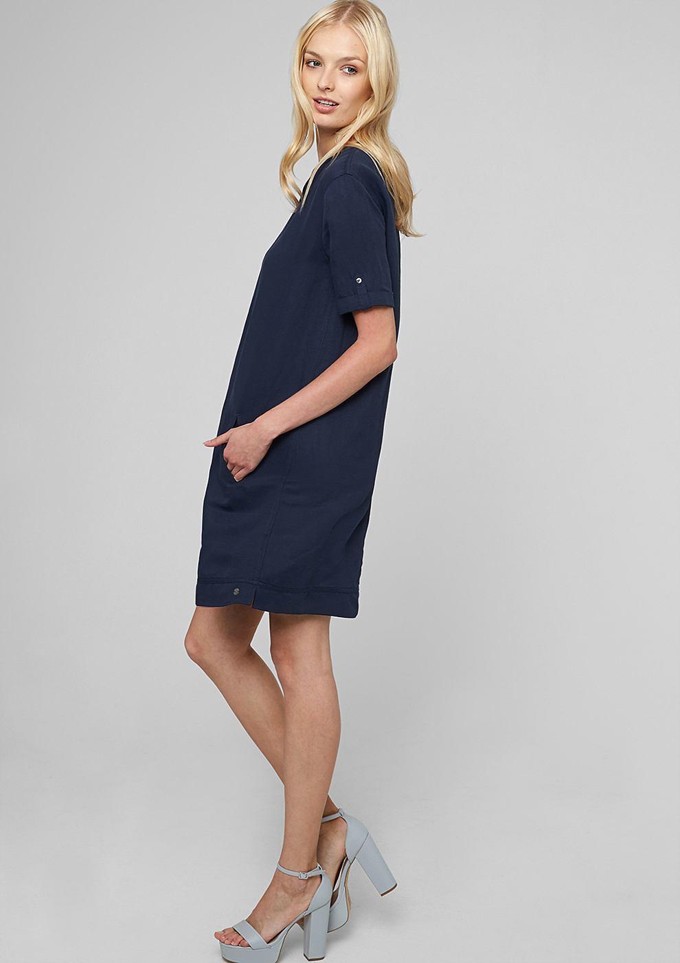 s.Oliver jurk van een linnenmix blauw