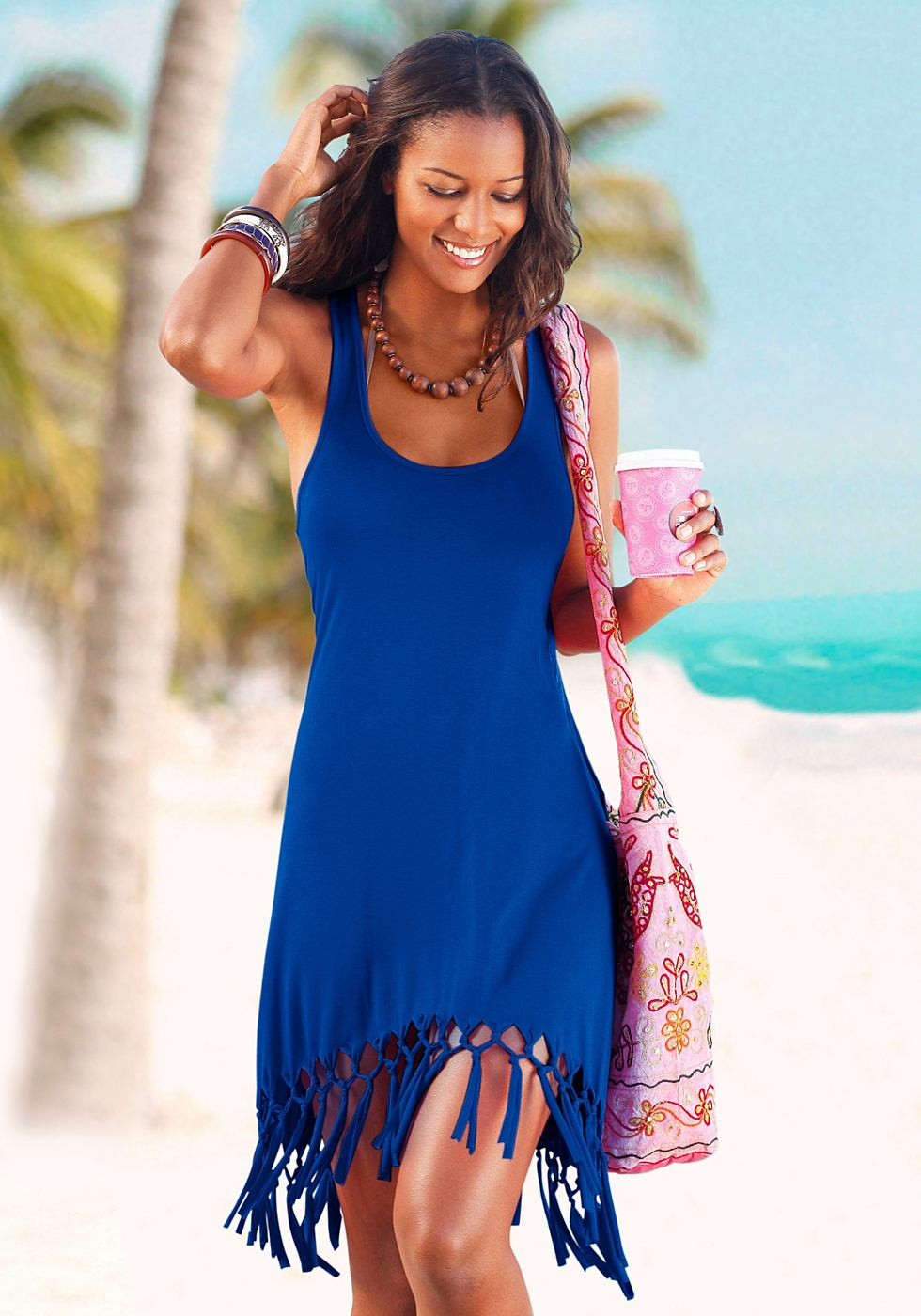 Beachtime Shirt in lang model blauw