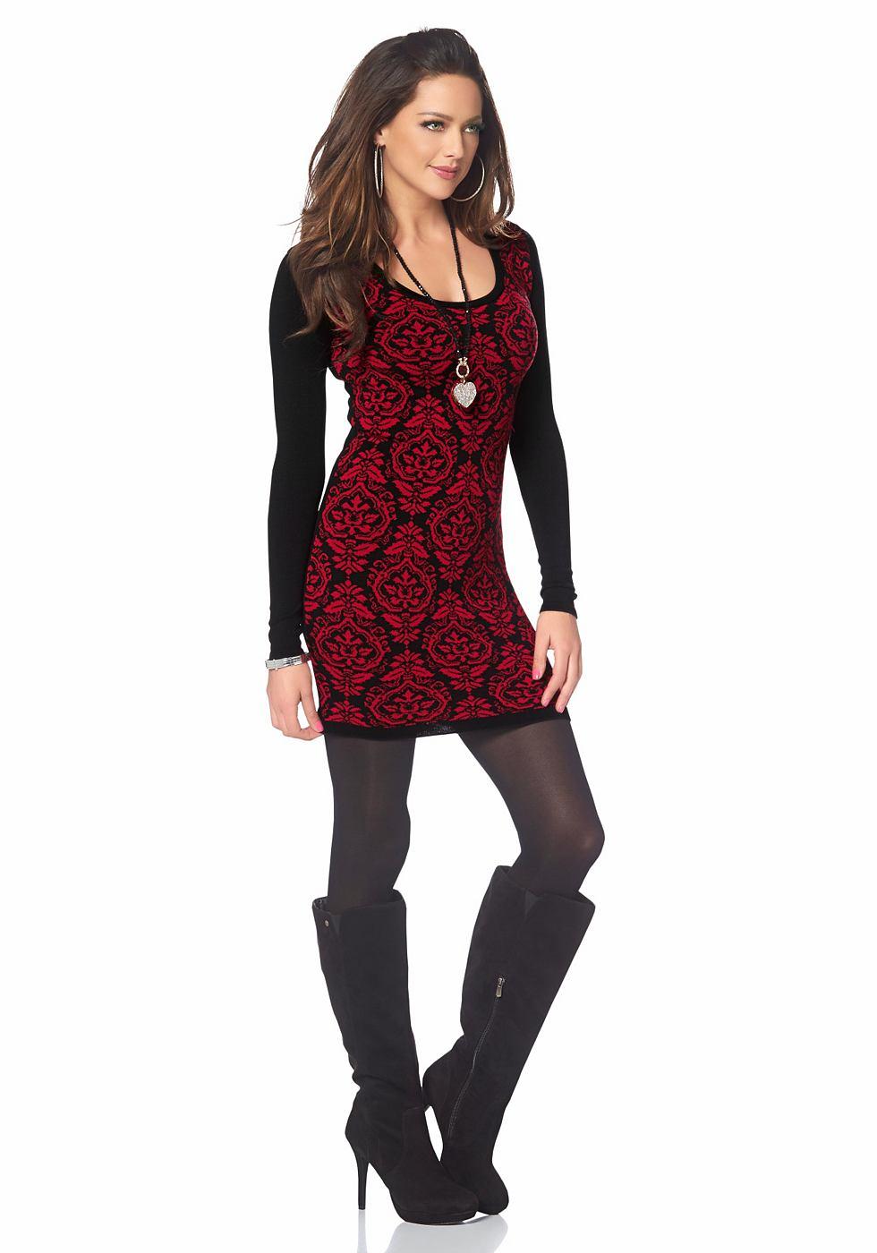 Melrose Tricot-jurk met motief voor rood