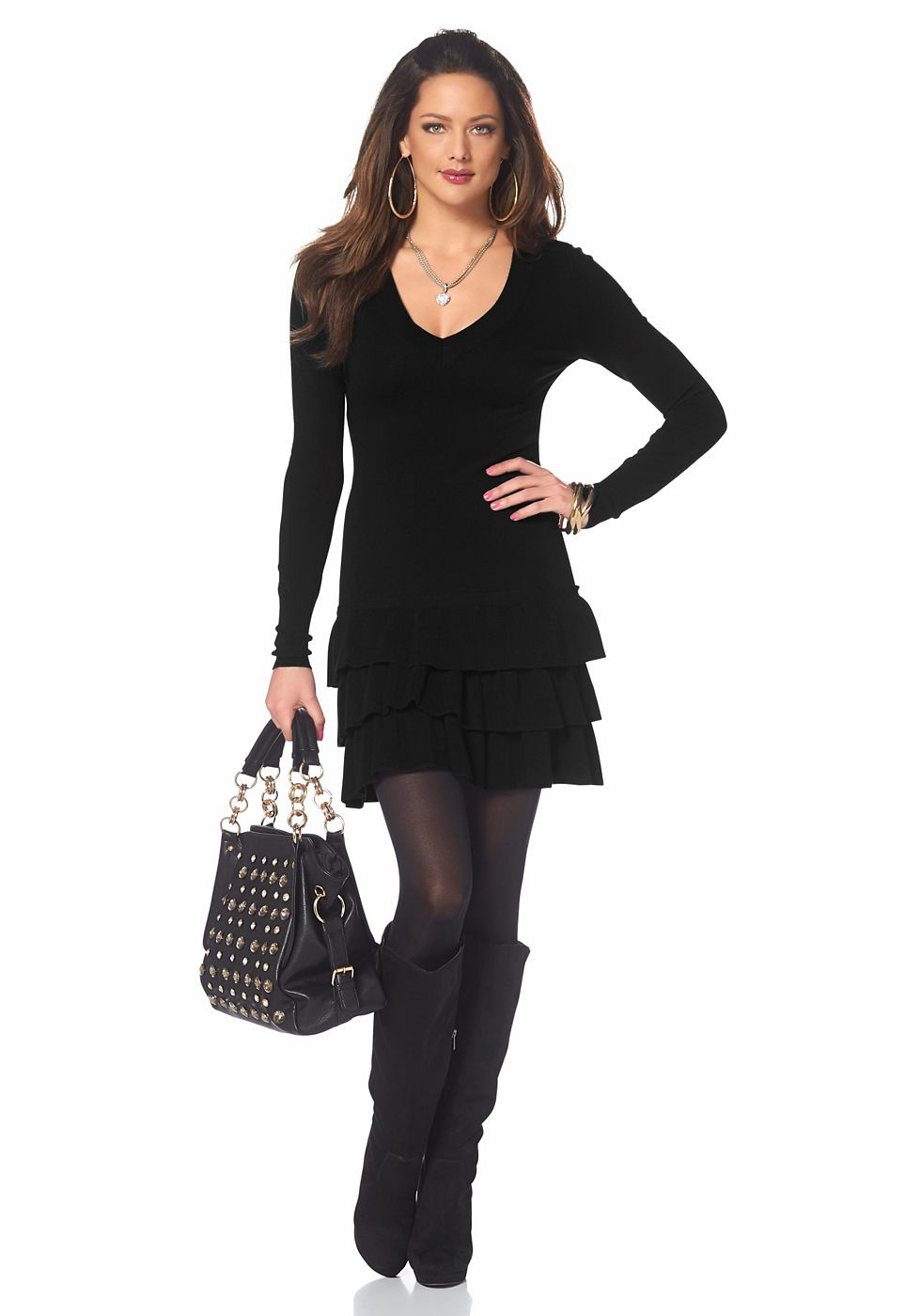 Melrose Tricot-jurk met diepe V-hals zwart