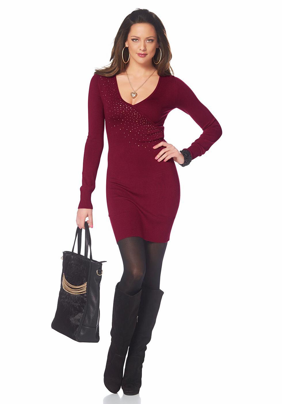 Melrose Tricot-jurk in wikkel-look rood