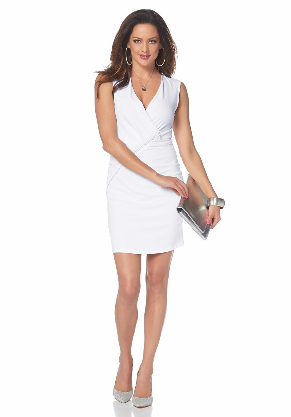 Melrose jersey-jurk met strasrits wit