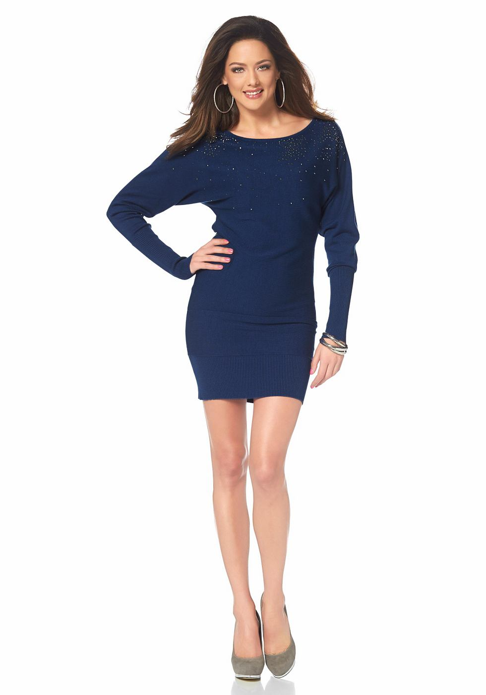 Melrose Tricot-jurk met glinstersteentjes blauw