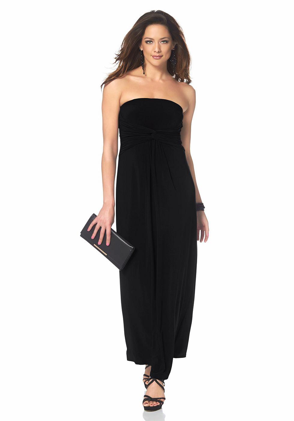 Melrose Maxi-jurk in stretch-jerseykwaliteit zwart