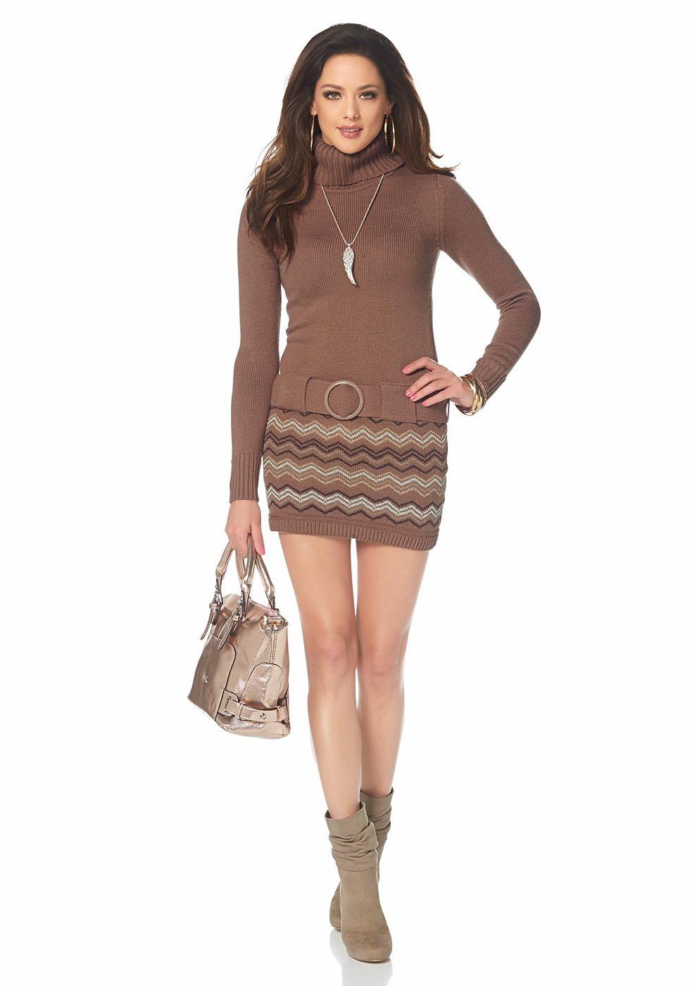 Melrose Tricot-jurk met col bruin