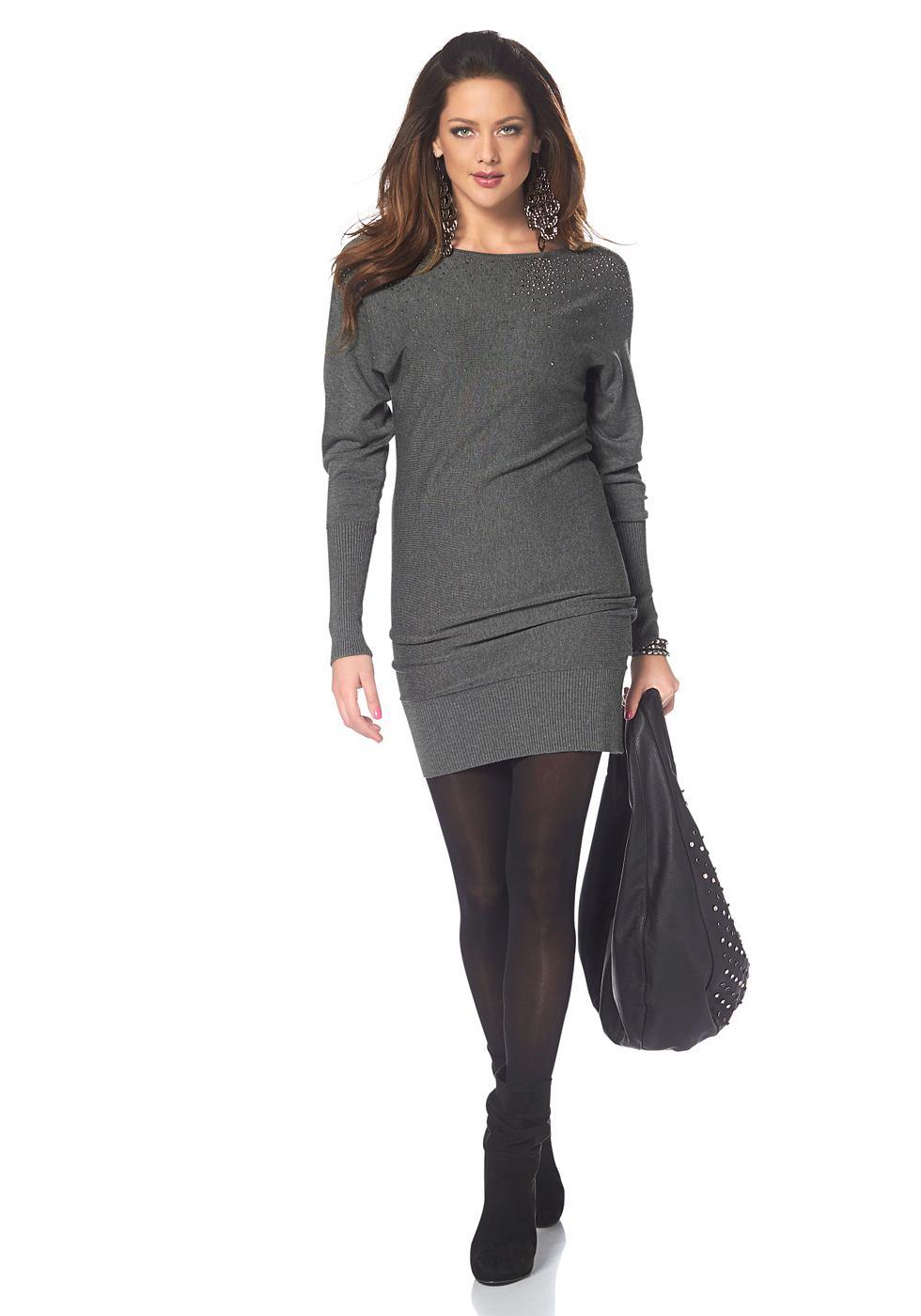 Melrose Tricot-jurk met glinstersteentjes grijs