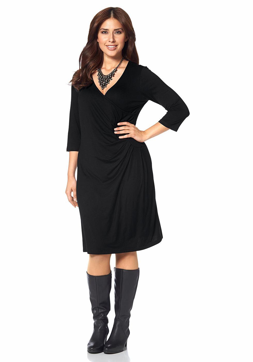 Apart jersey-jurk in wikkel-look zwart