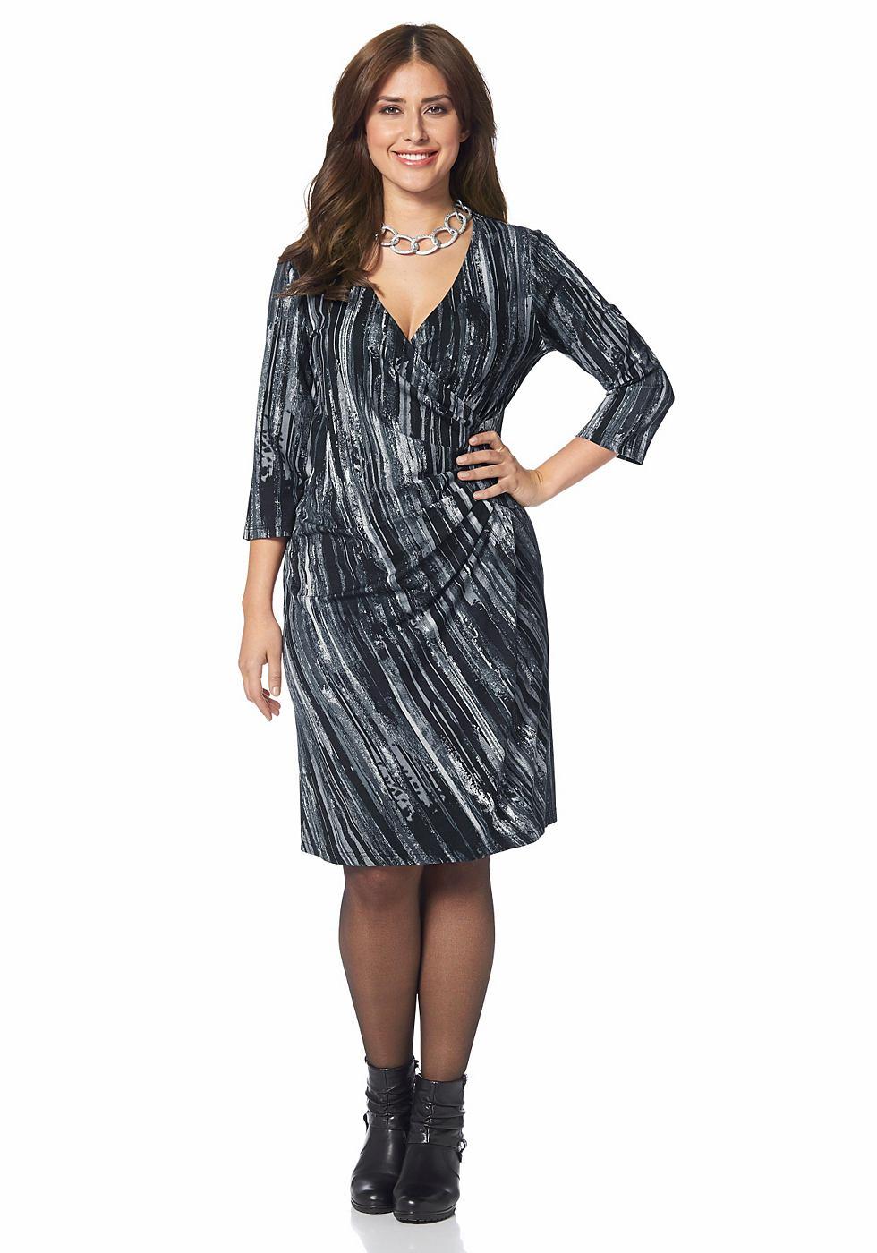 Apart jersey-jurk in wikkel-look grijs