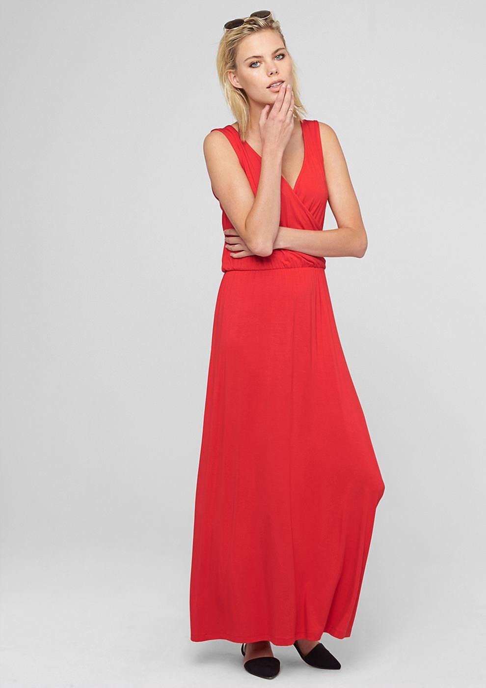 s.Oliver Maxi-jurk met wikkellook rood