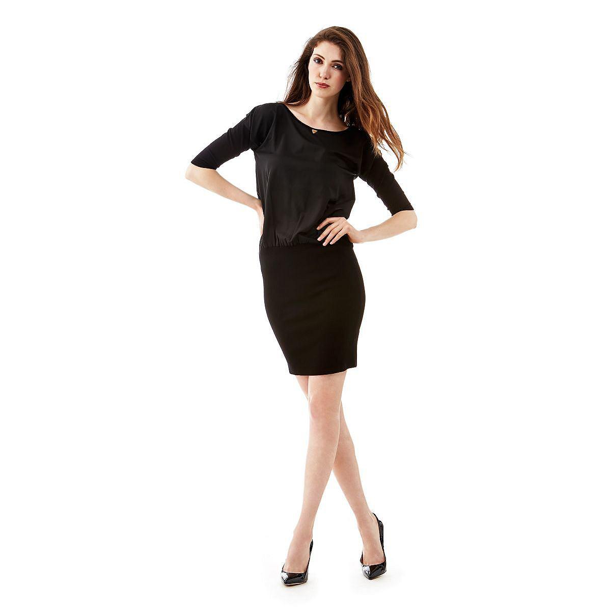 Guess jurk Comfort Mixed Viscose zwart