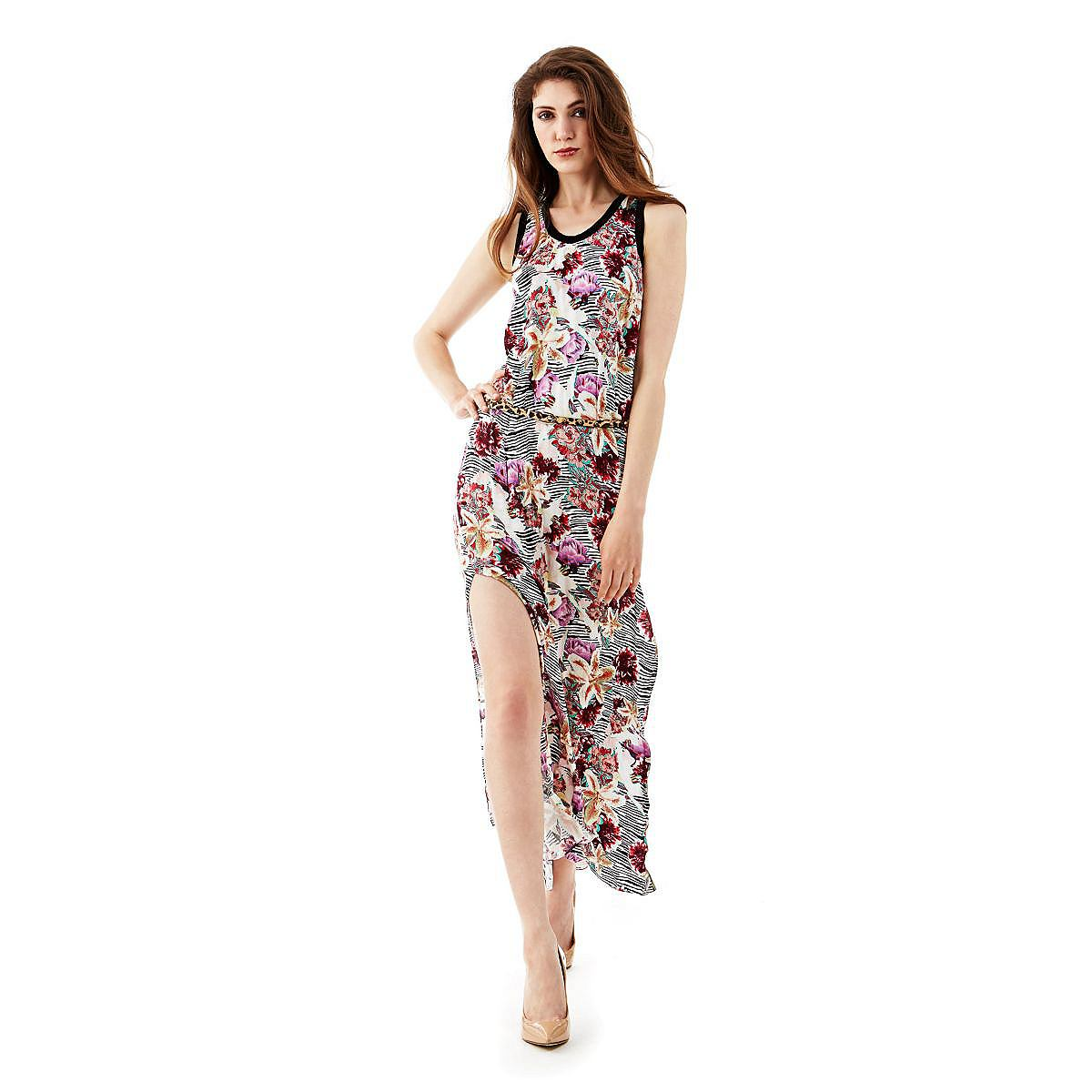 Guess jurk Long Flower Printed Viscose multicolor