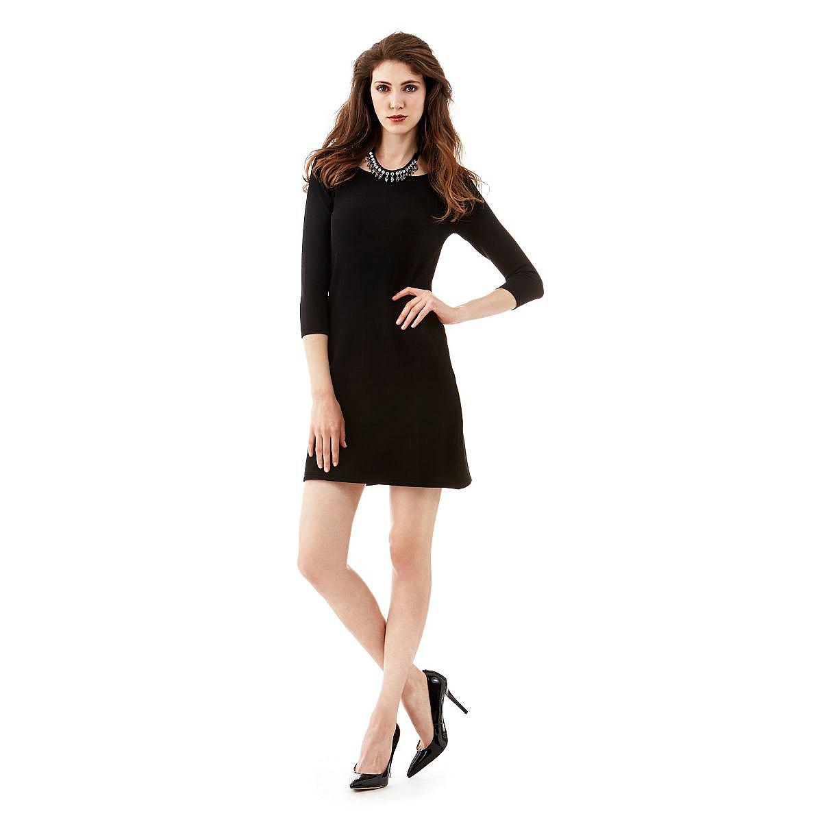 Guess jurk A-line printed met 3/4-mouwen zwart