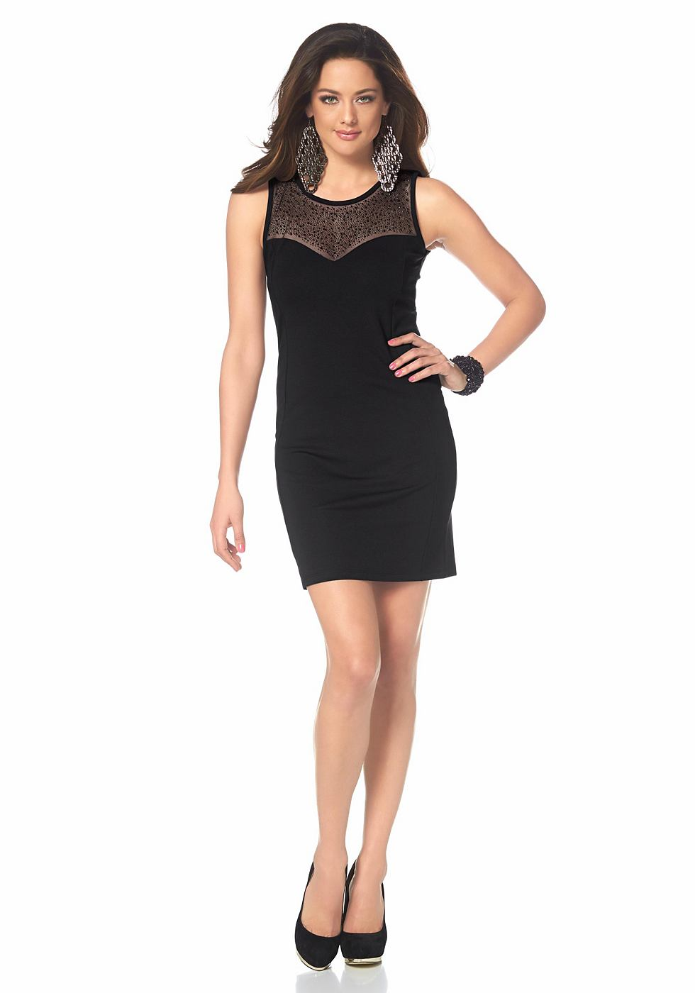 Melrose jersey-jurk met netinzet zwart