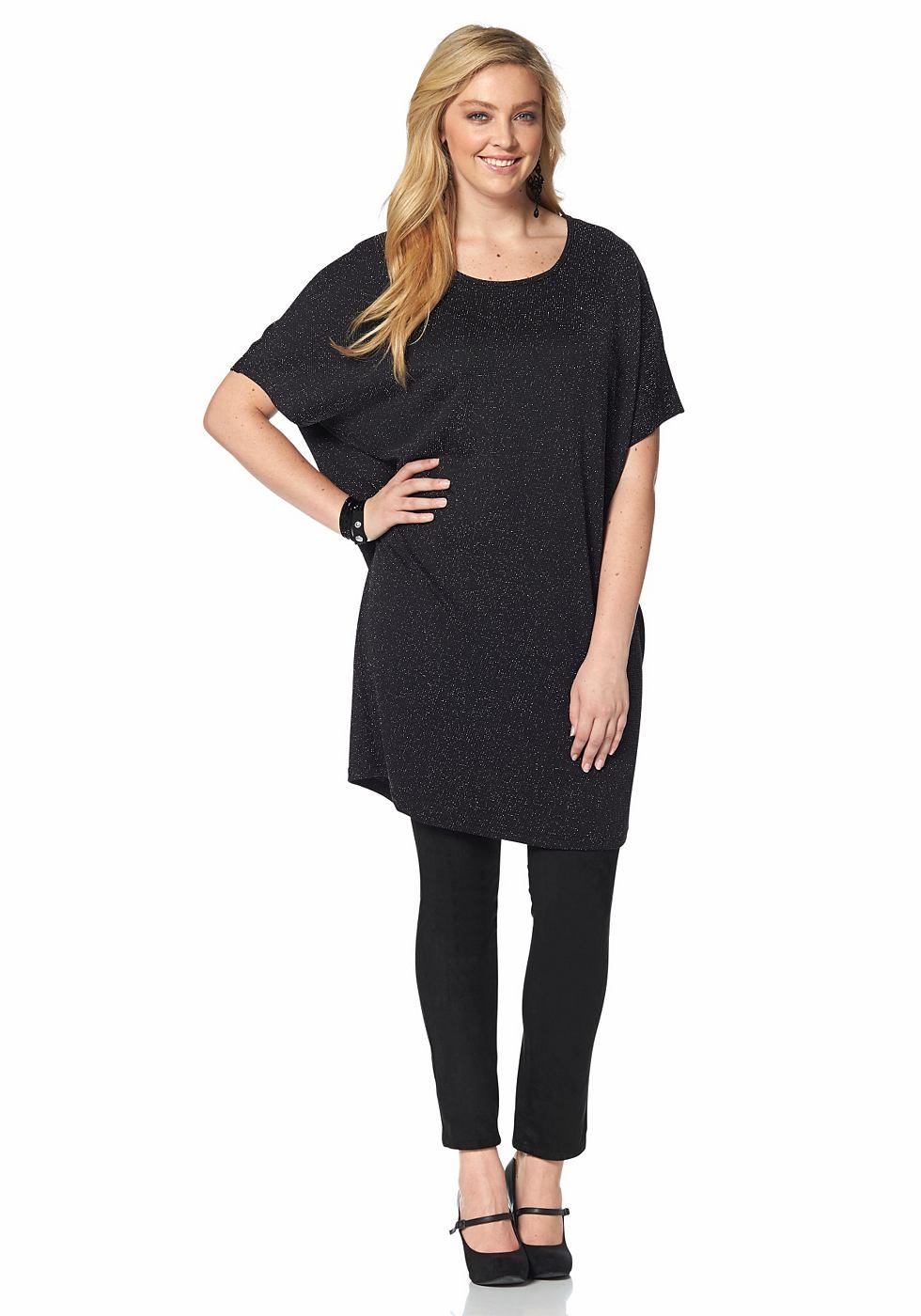 Junarose jersey-jurk met ronde hals zwart