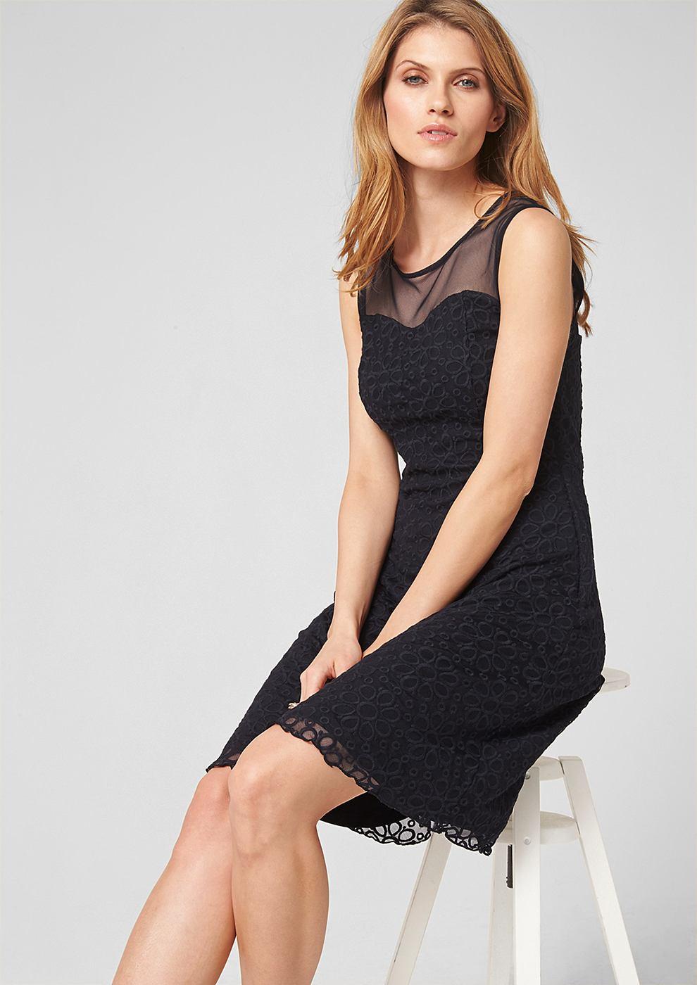 s.Oliver Premium Mesh jurk met ton sur ton borduursel blauw