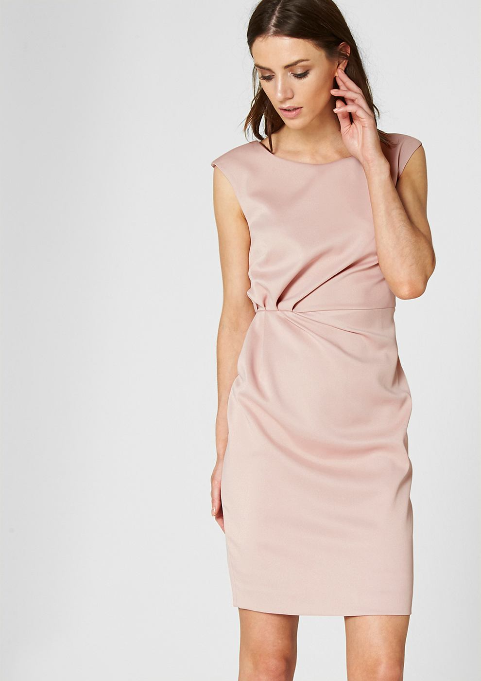 s.Oliver Premium satijnen jurk met drapering rond de taille roze