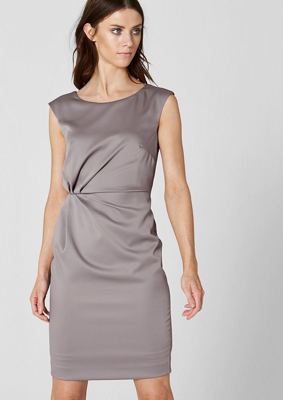 s.Oliver Premium satijnen jurk met drapering rond de taille rood