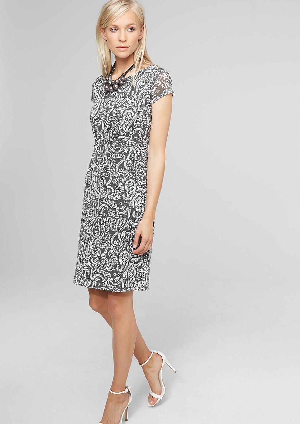 s.Oliver Premium Getailleerde mesh jurk grijs