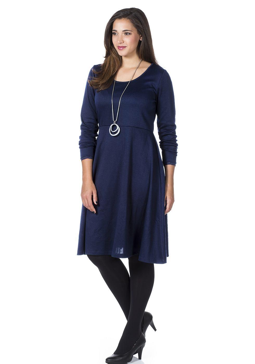 Sheego Style elegante jerseyjurk blauw