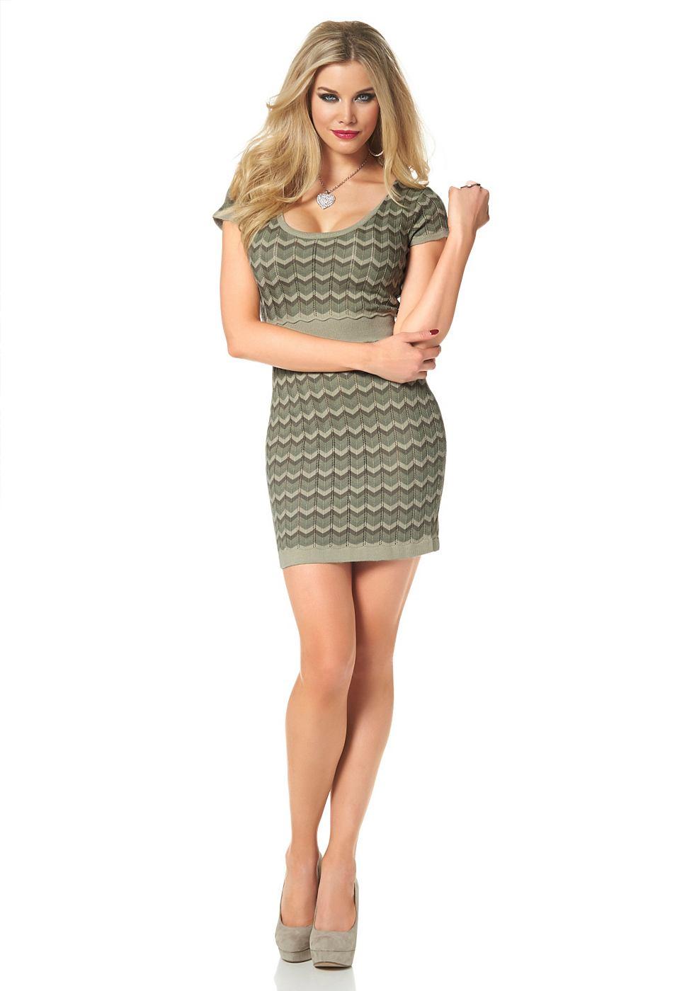 Melrose Tricot-jurk in zigzag-look groen
