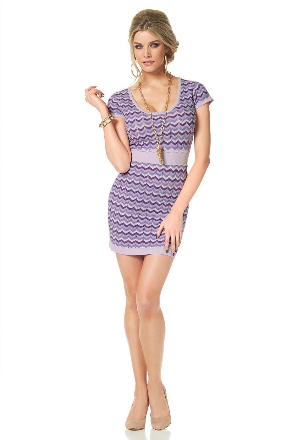 Melrose Tricot-jurk in zigzag-look paars