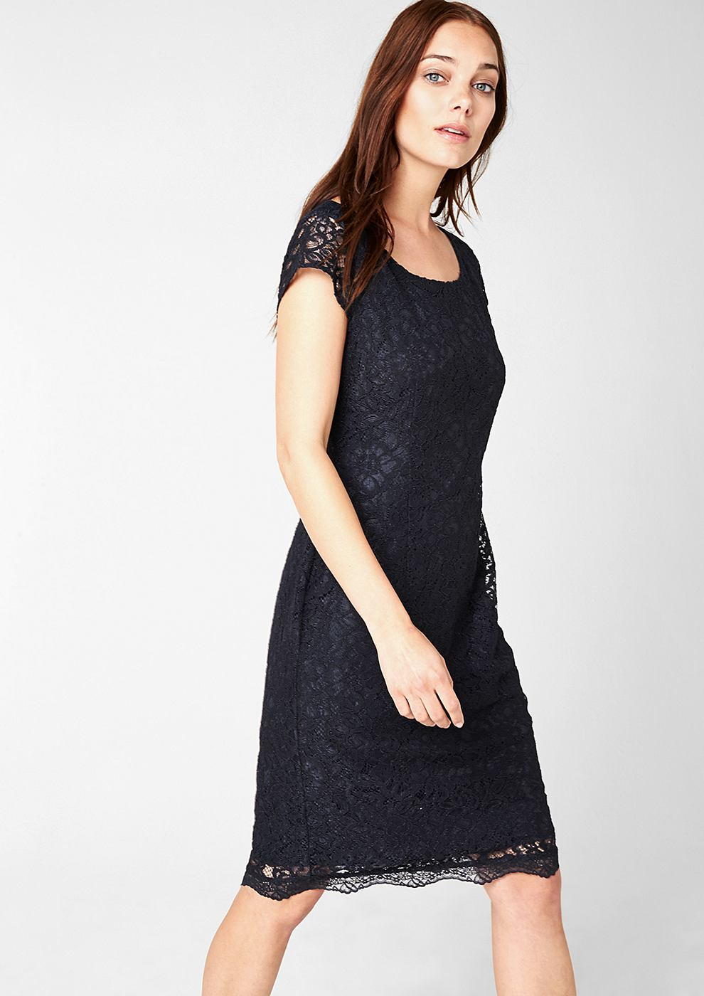 NU 15% KORTING: s.Oliver Premium Accentuerende kanten jurk blauw