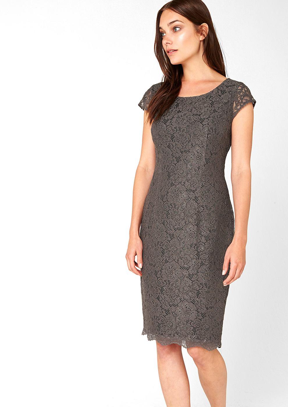 s.Oliver Premium Accentuerende kanten jurk grijs