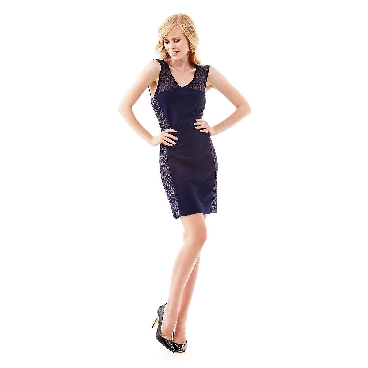 Guess jurk Ruthie lace insert met kanten inzetten blauw