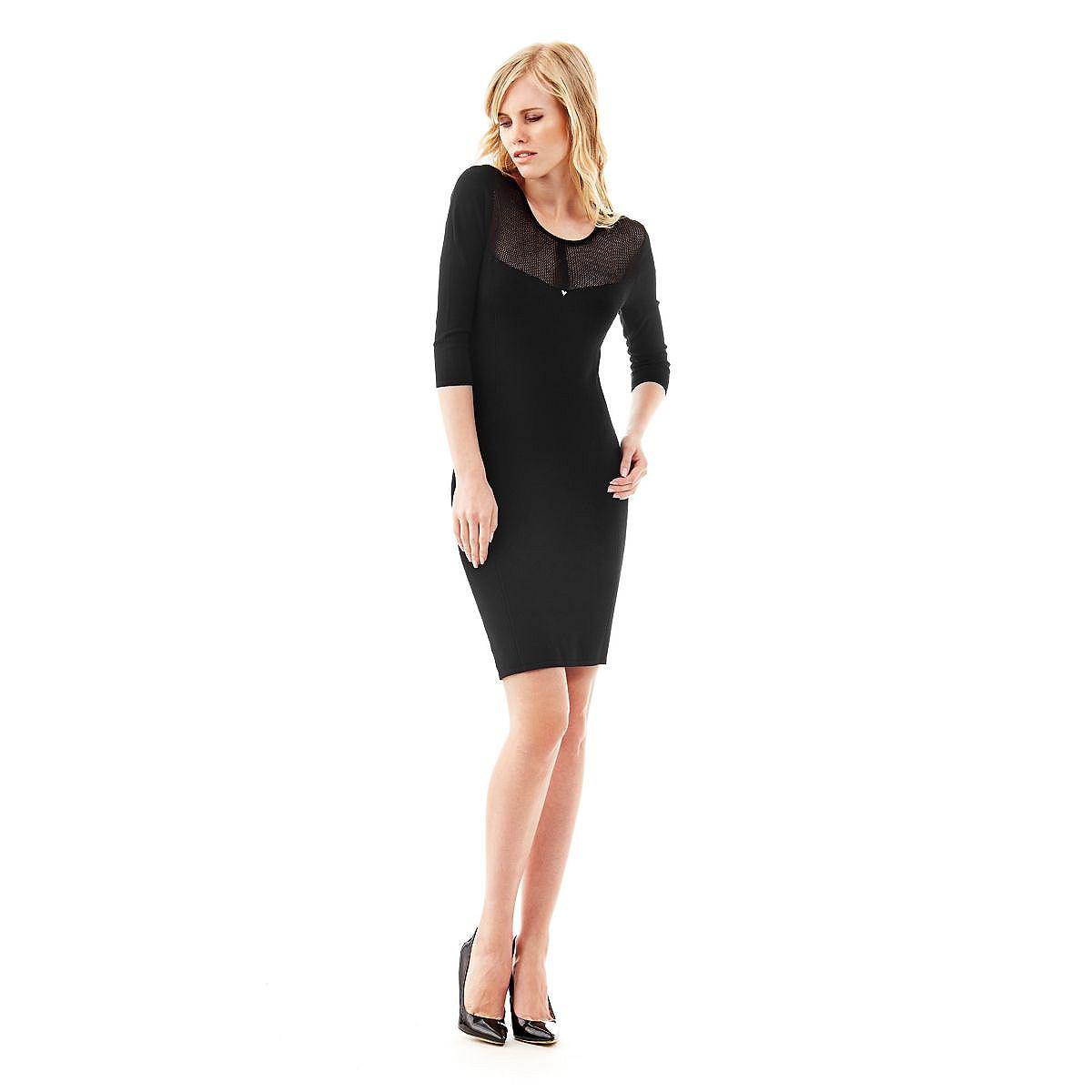 Guess jurk Viola Mixed Viscose zwart