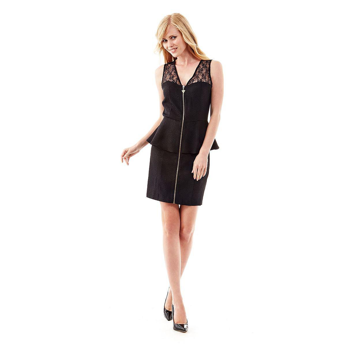 Guess jurk Anika Embossed Snake zwart
