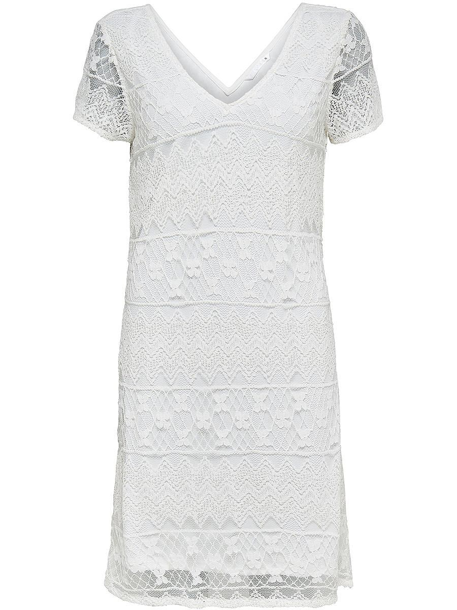 ONLY Met korte mouwen kant jurk wit