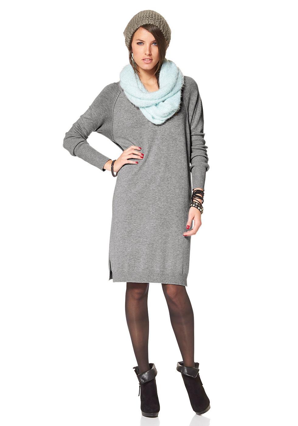 Aniston Tricot-jurk met vleermuismouwen grijs