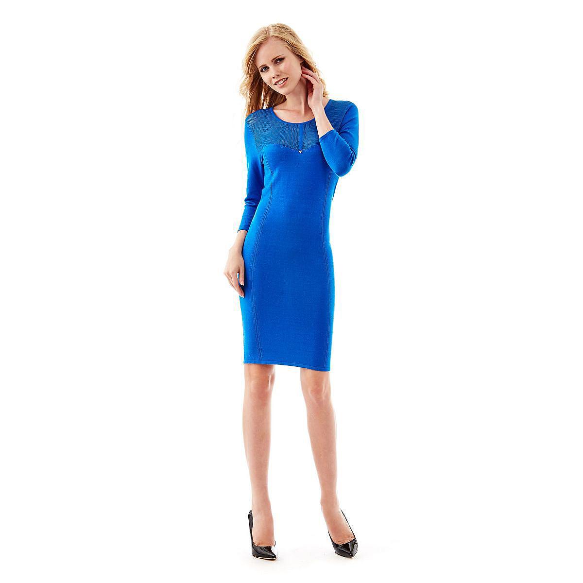 Guess jurk Viola Mixed Viscose blauw