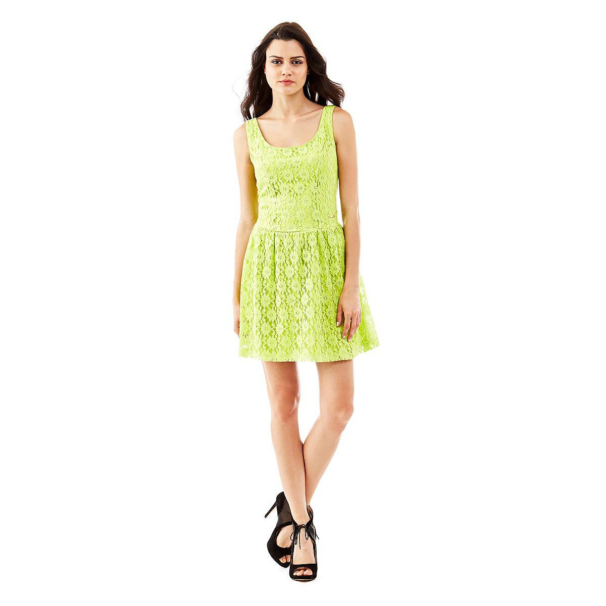 Guess jurk Lace mixed cotton geel