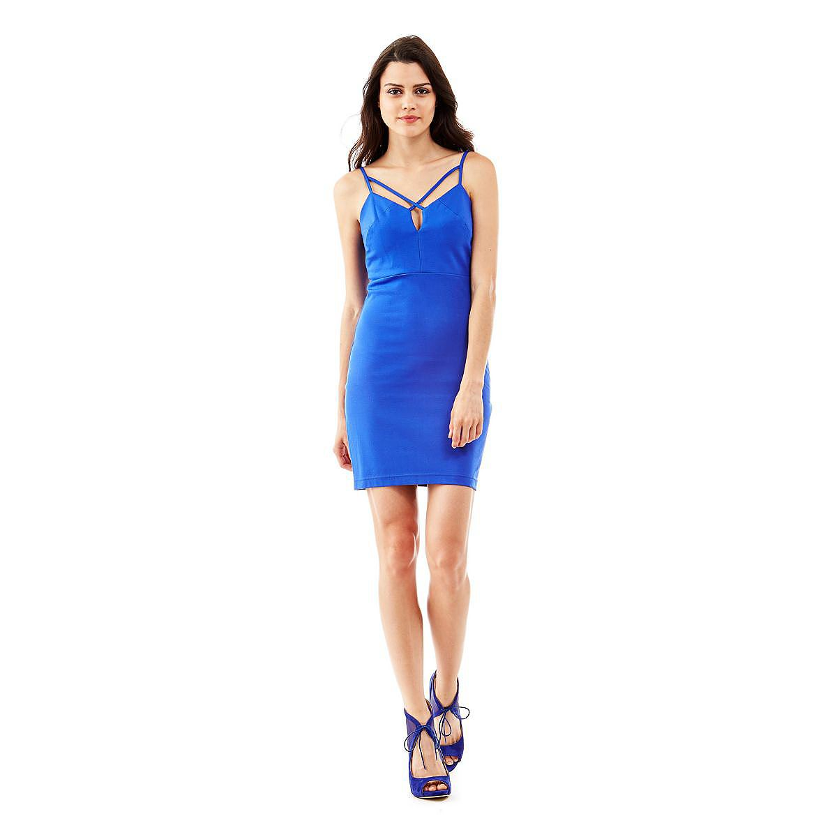 Guess jurk Sexy Strappy Bodycon blauw