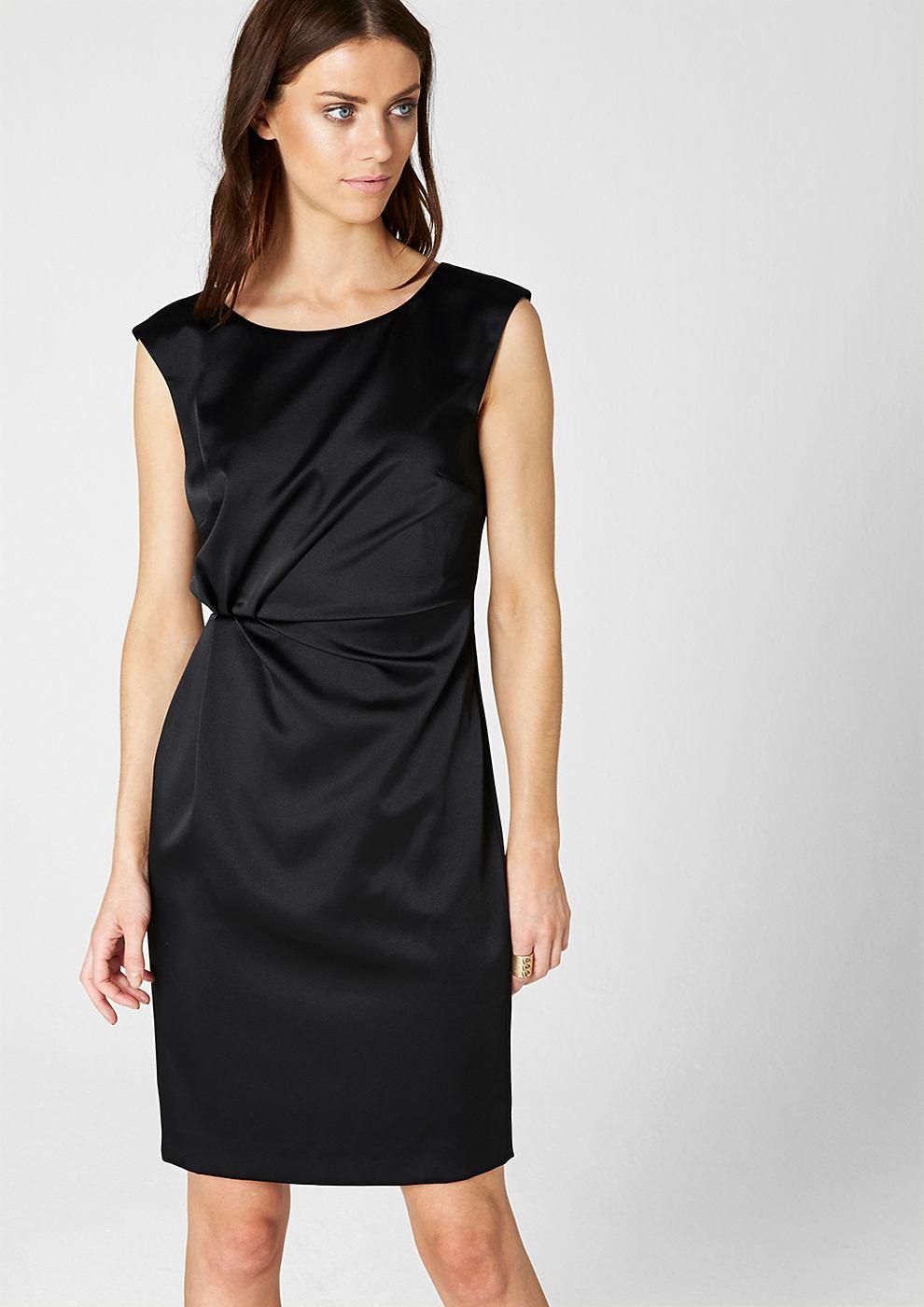 s.Oliver Premium satijnen jurk met drapering rond de taille zwart