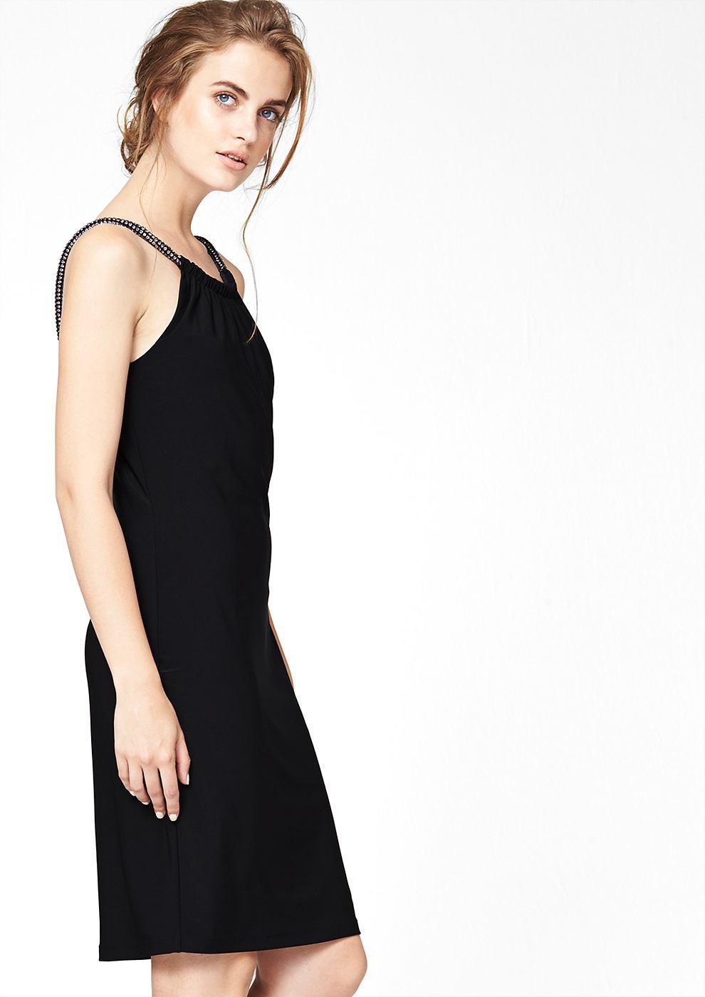 s.Oliver Premium Stretchjurk met siersteentjes op de schouderbandjes zwart