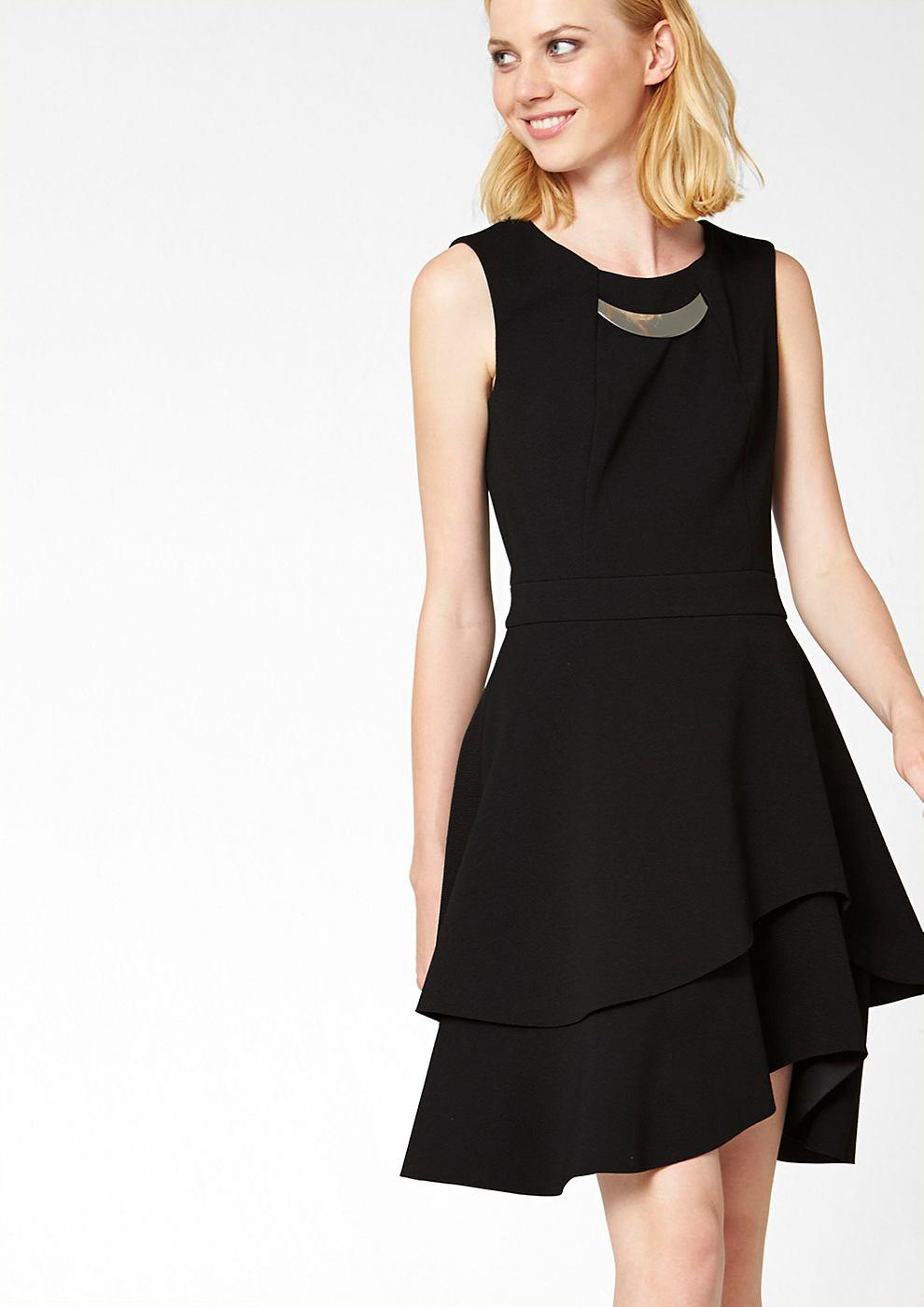 s.Oliver Premium Crêpe jurk met mooi detail zwart