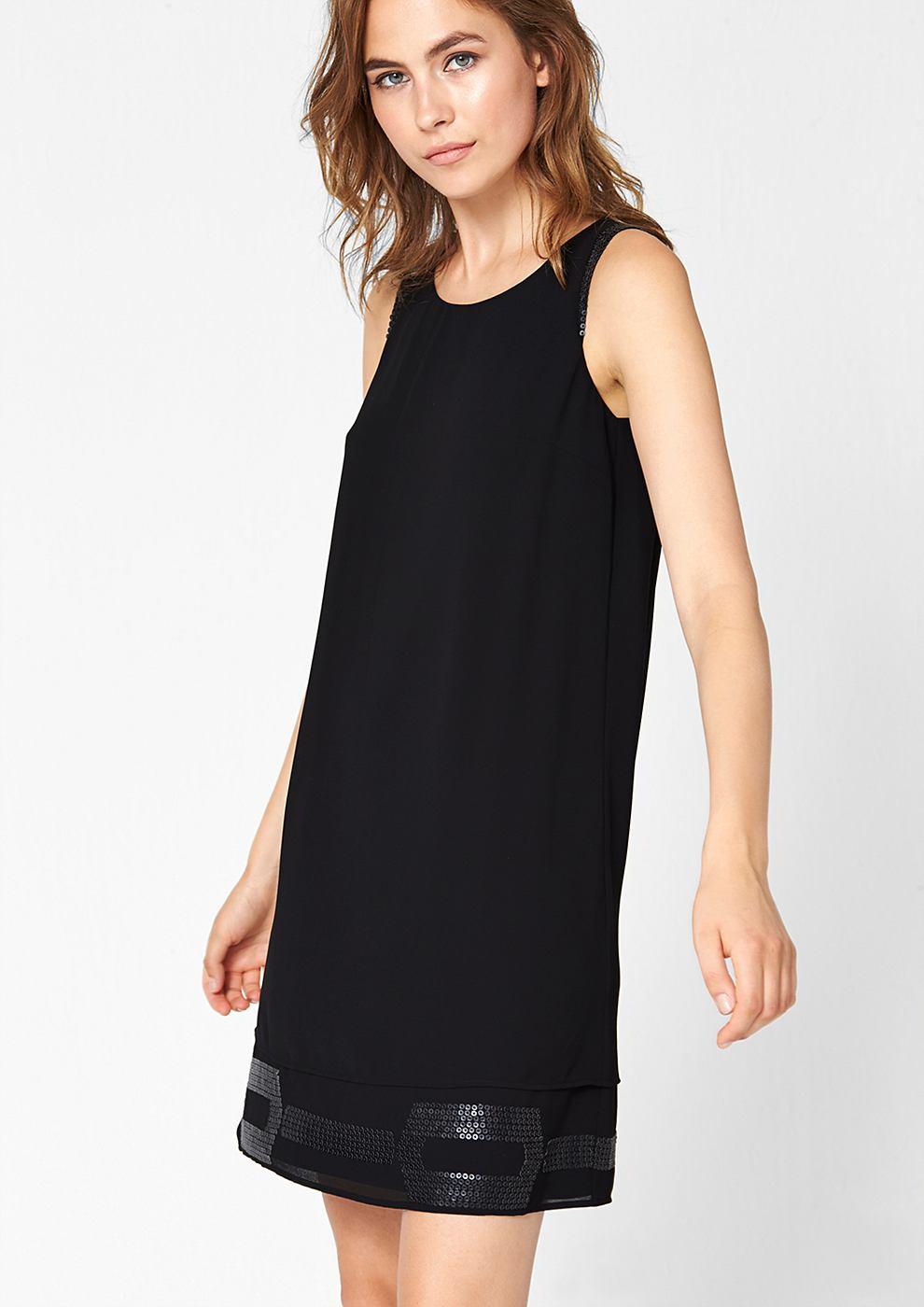s.Oliver Premium chiffon jurk met imitatieleren pailletjes zwart