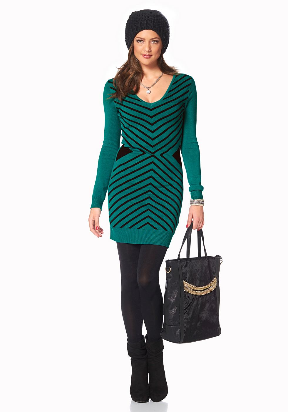 Melrose Tricot-jurk met groot zigzagmotief groen