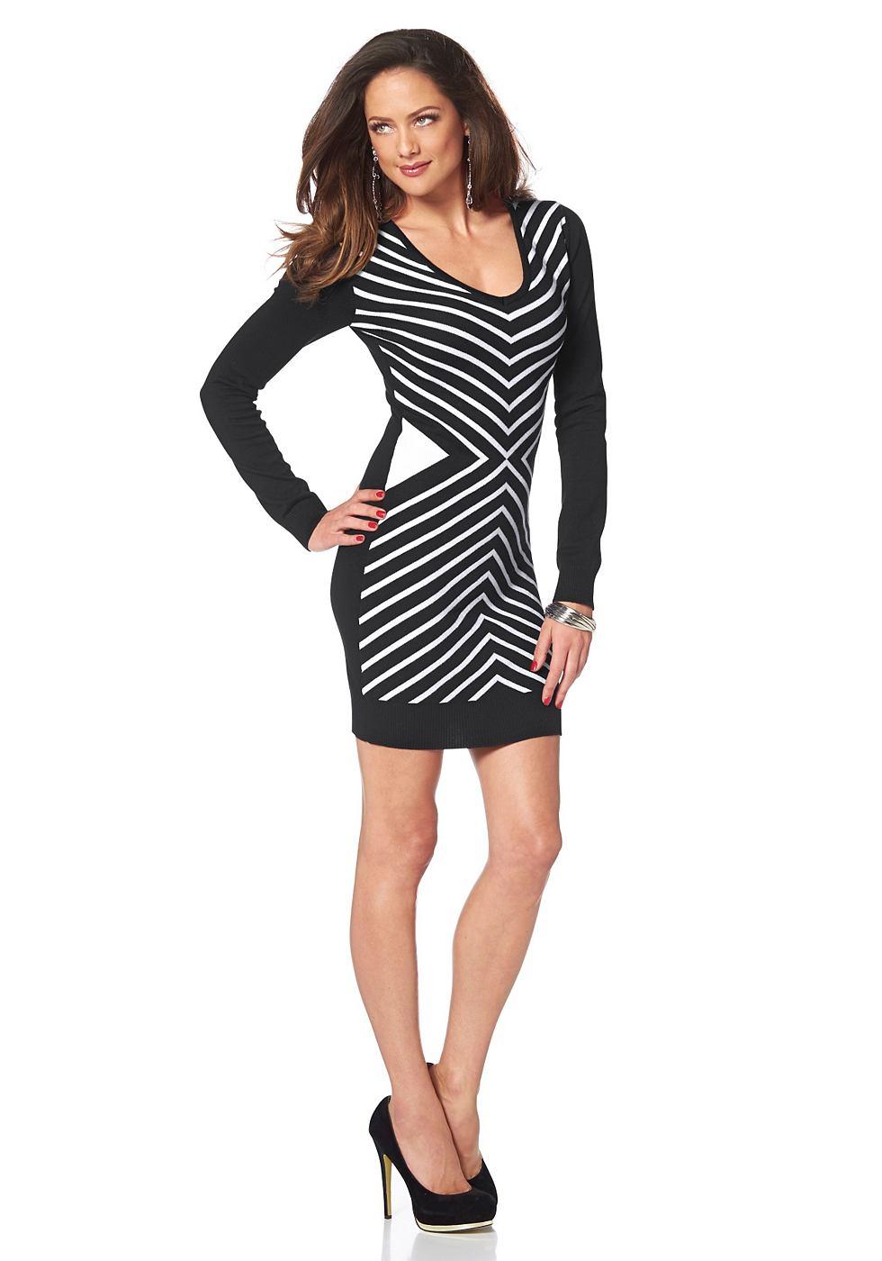 Melrose Tricot-jurk met groot zigzagmotief zwart