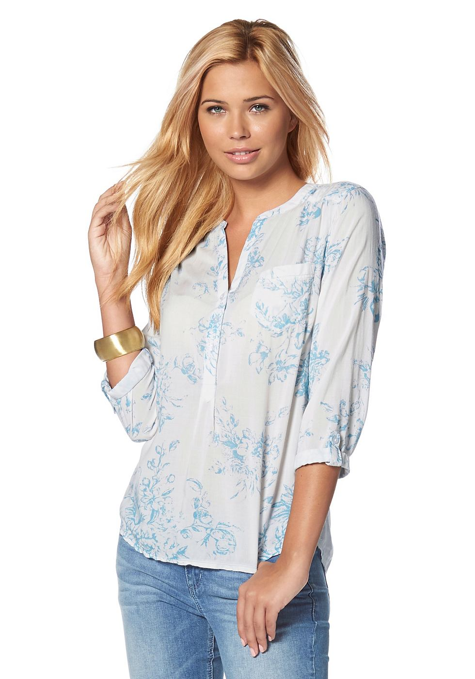 TOM TAILOR DENIM Lange blouse met V-hals
