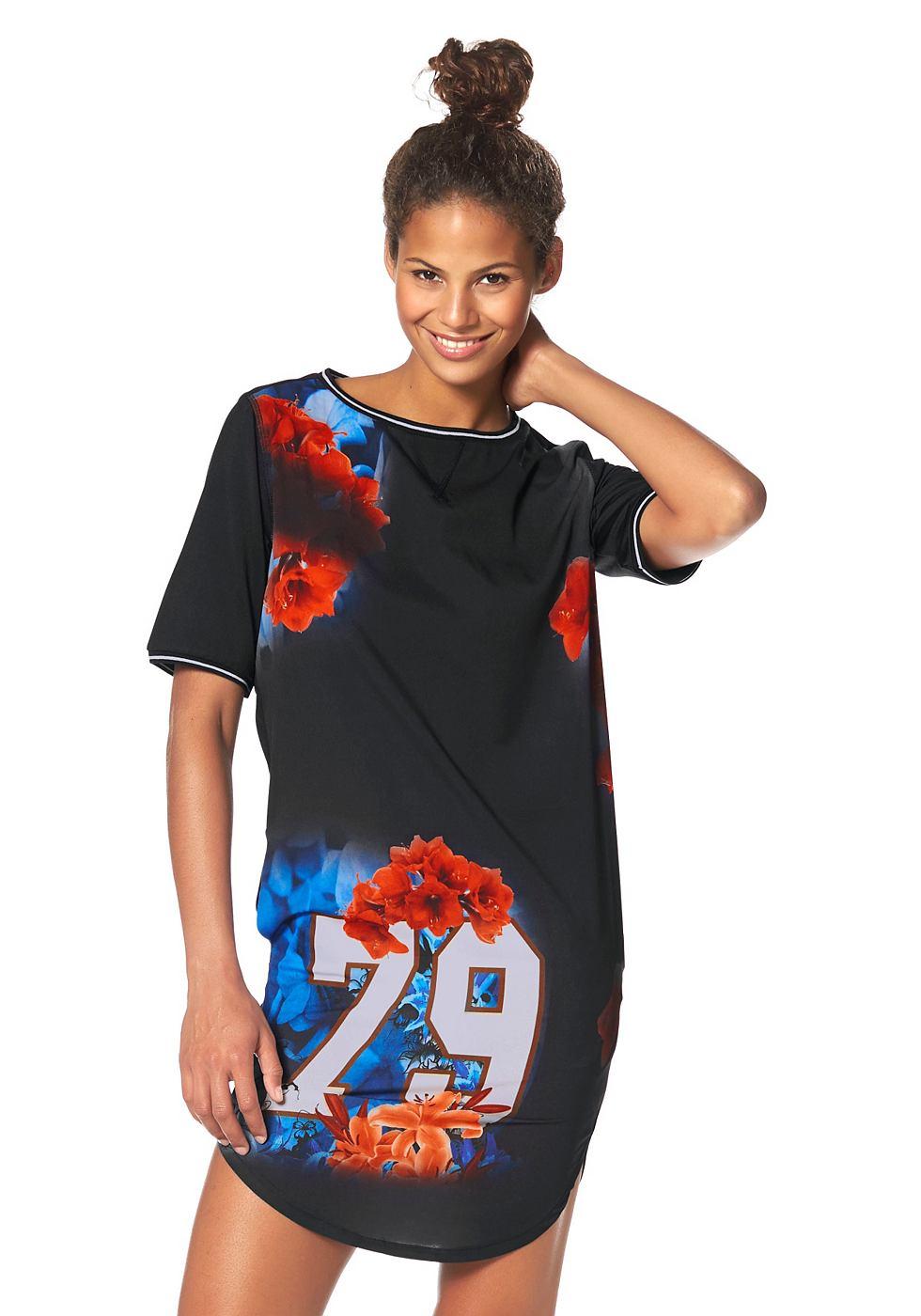 Kangaroos jersey-jurk met ronde hals zwart