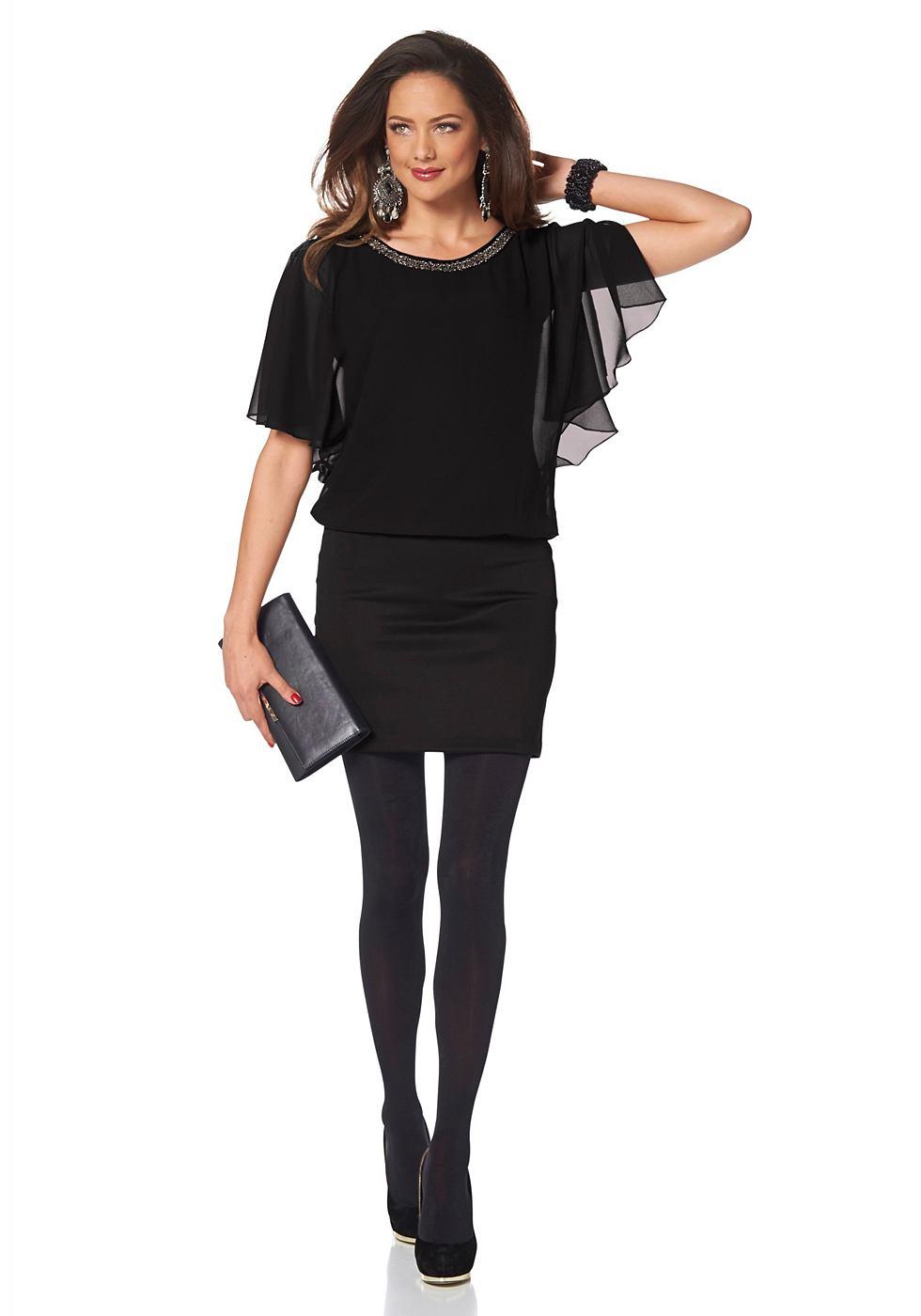 Melrose chiffon-jurk in vleermuisstijl zwart