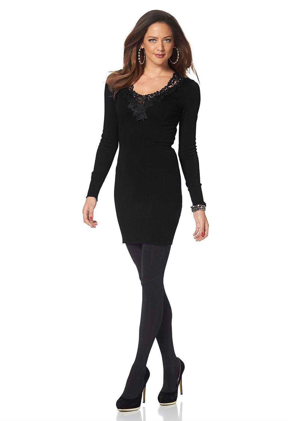 Melrose Tricot-jurk met ronde hals zwart